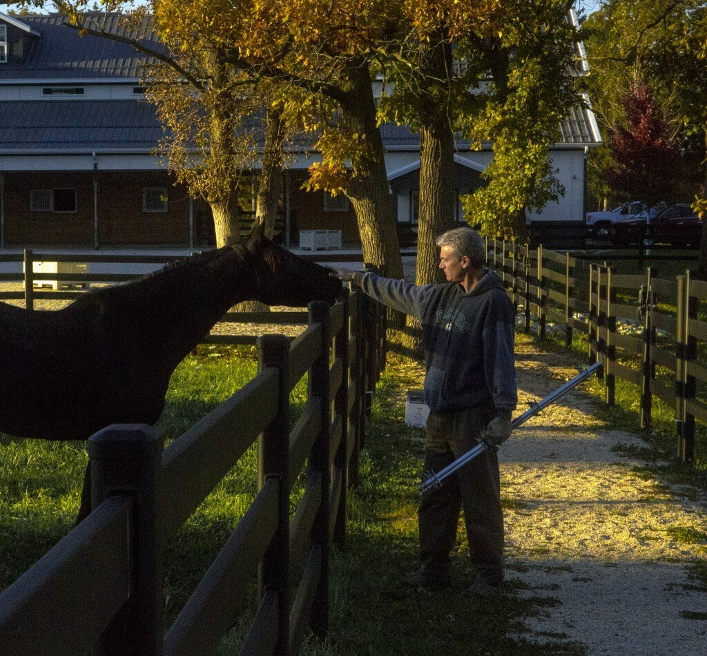 Founder Jim Buckley Pets Horse