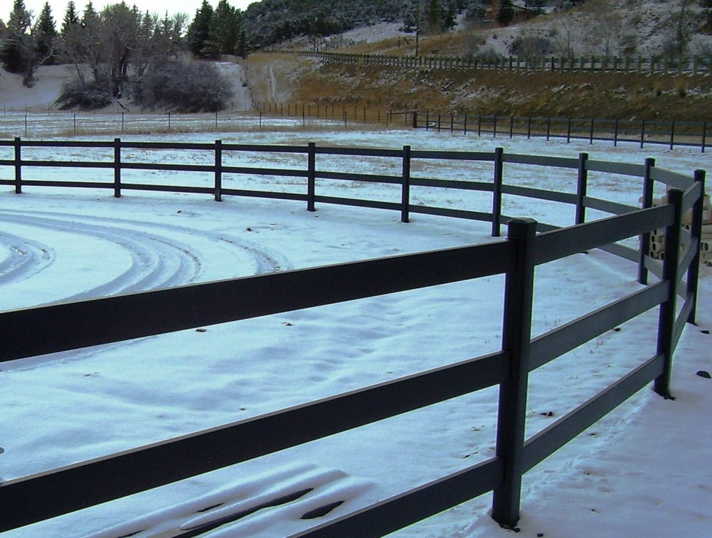 Buckley-Fence-LLC-Steel-Black-Horse-Fence-Ring-Utah-Snow