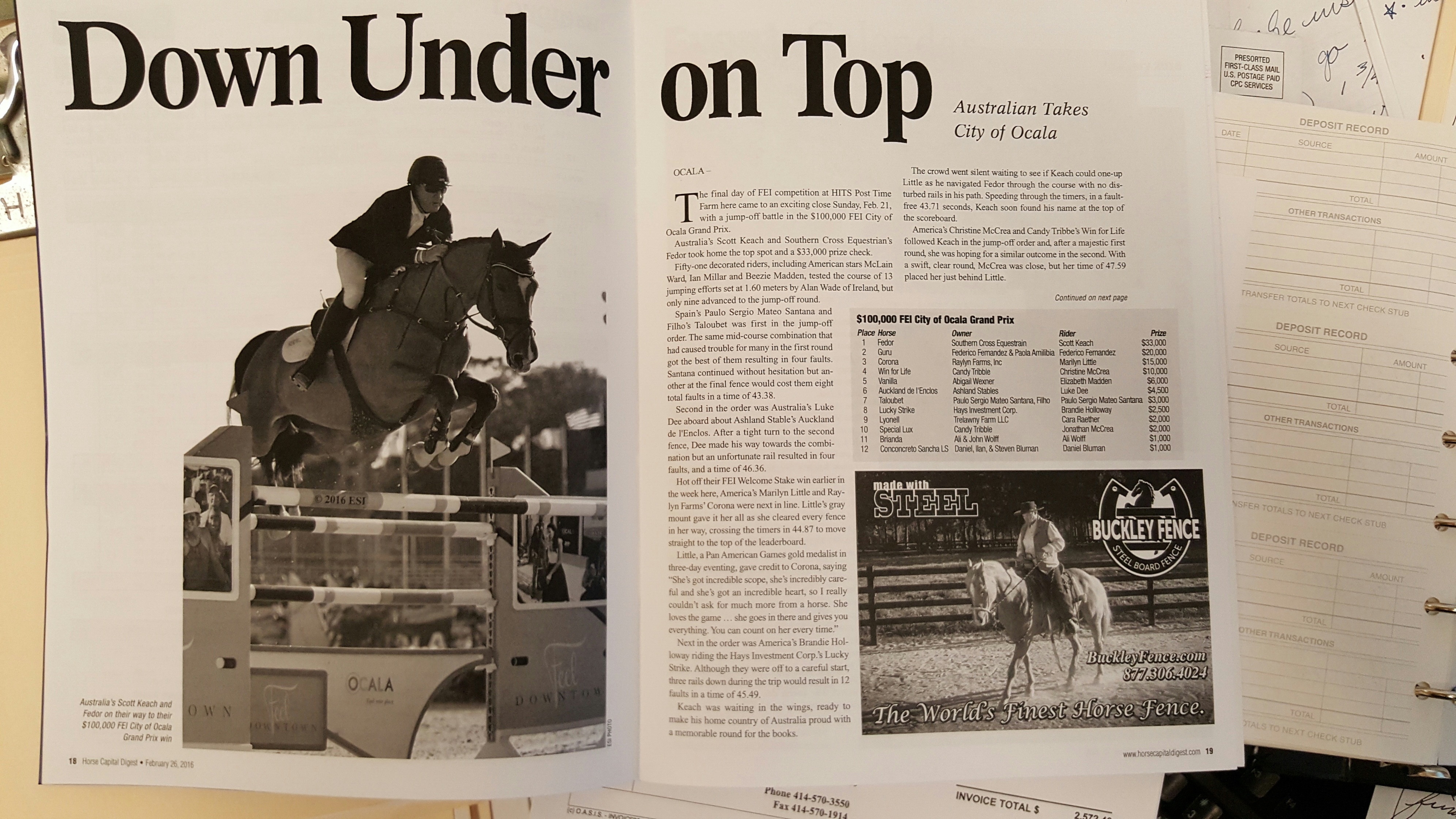 Our Ad in Horse Capital Digest