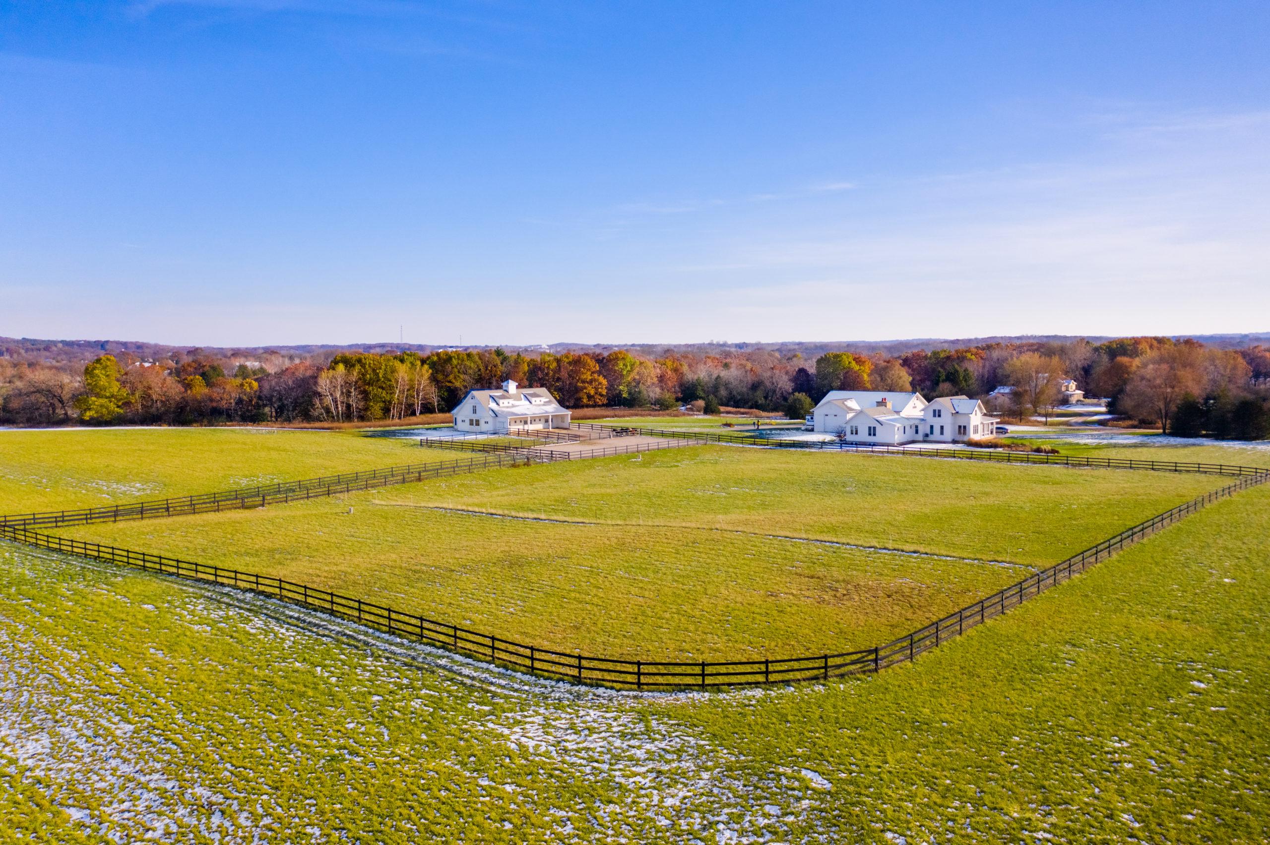 Snow-Sprinkled Horse Ranch